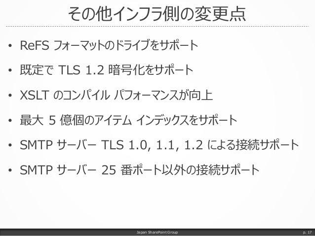 その他インフラ側の変更点 • ReFS フォーマットのドライブをサポート • 既定で TLS 1.2 暗号化をサポート • XSLT のコンパイル パフォーマンスが向上 • 最大 5 億個のアイテム インデックスをサポート • SMTP サーバ...