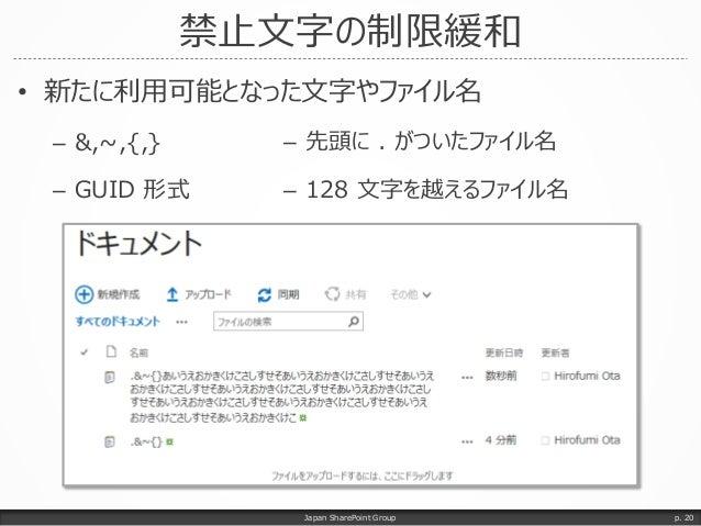 禁止文字の制限緩和 • 新たに利用可能となった文字やファイル名 – &,~,{,} – GUID 形式 Japan SharePoint Group p. 20 – 先頭に . がついたファイル名 – 128 文字を越えるファイル名
