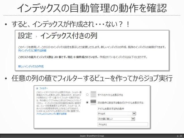 インデックスの自動管理の動作を確認 • すると、インデックスが作成され・・・ない?! • 任意の列の値でフィルターするビューを作ってからジョブ実行 Japan SharePoint Group p. 23