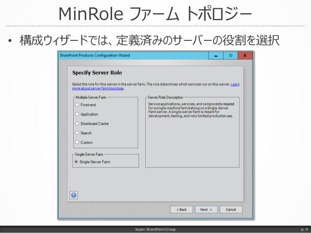 MinRole ファーム トポロジー • 構成ウィザードでは、定義済みのサーバーの役割を選択 Japan SharePoint Group p. 9
