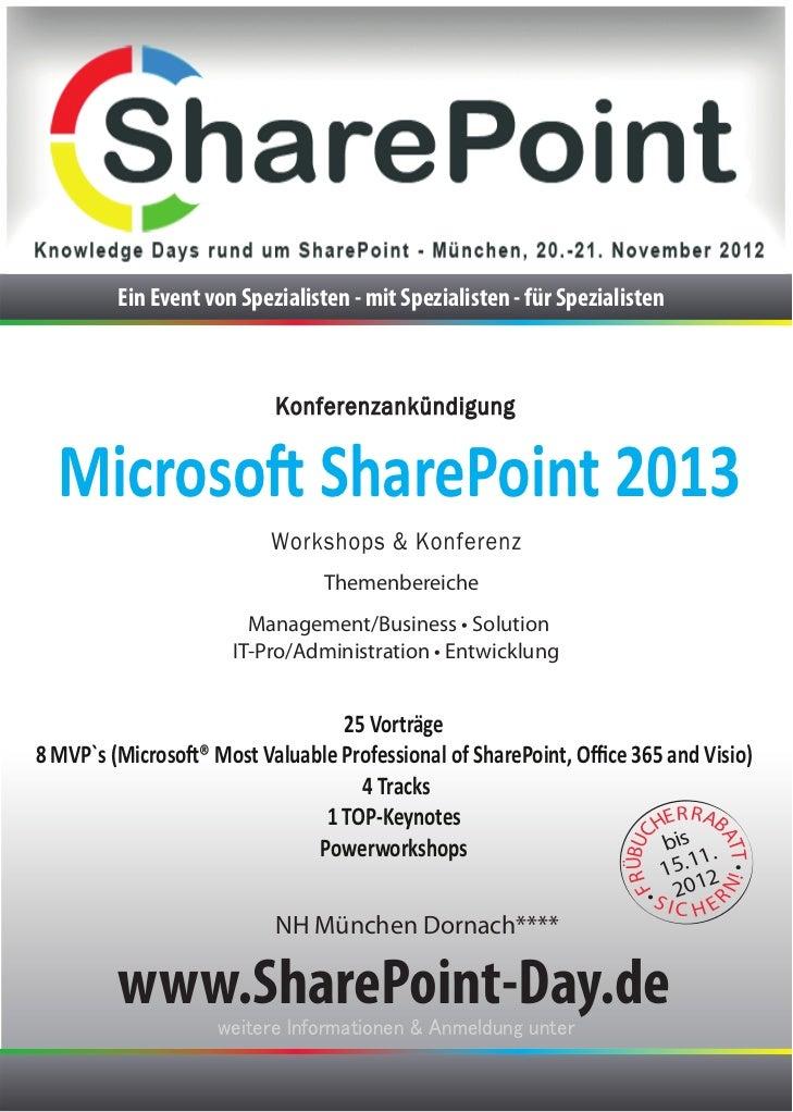 Ein Event von Spezialisten - mit Spezialisten - für Spezialisten  Microsoft SharePoint 2013                               ...