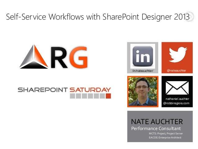 Self-Service Workflows with SharePoint Designer 2013@nateauchterNATE AUCHTERnathaniel.auchter@robbinsgioia.com/in/nateauch...
