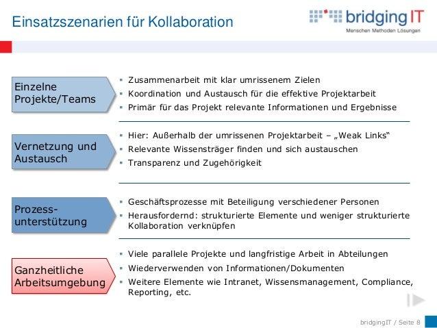 bridgingIT / Seite 8 Einsatzszenarien für Kollaboration Ganzheitliche Arbeitsumgebung  Viele parallele Projekte und langf...