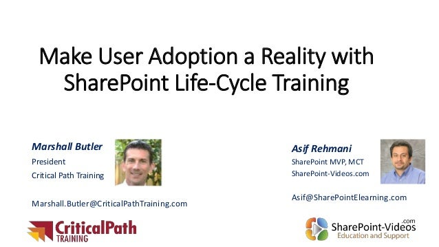 Make User Adoption a Reality with SharePoint Life-Cycle Training Asif Rehmani SharePoint MVP, MCT SharePoint-Videos.com As...