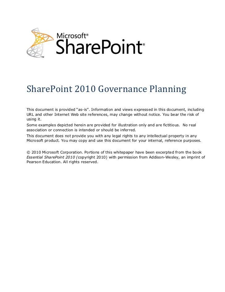 SharePoint Governance Planning - Microsoft