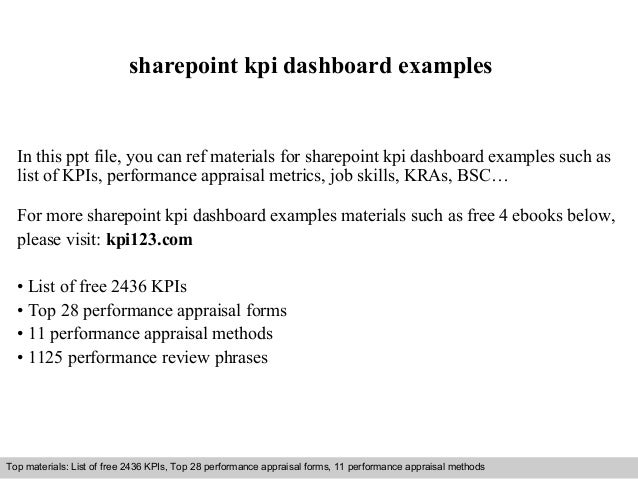 sharepoint kpi dashboard examples