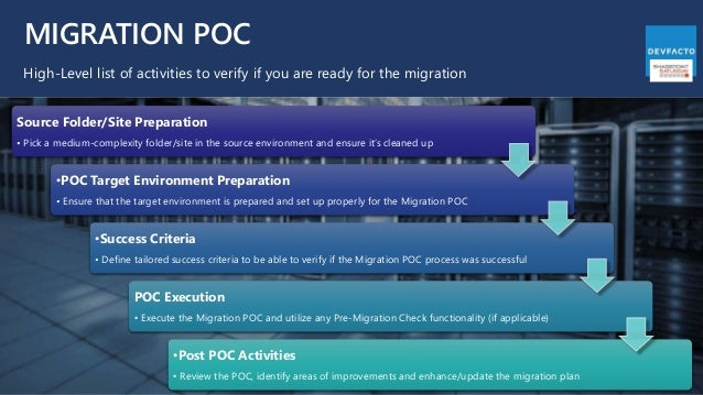 MIGRATION POC High-Level list of activities to verify if you are ready for the migration Source Folder/Site Preparation • ...