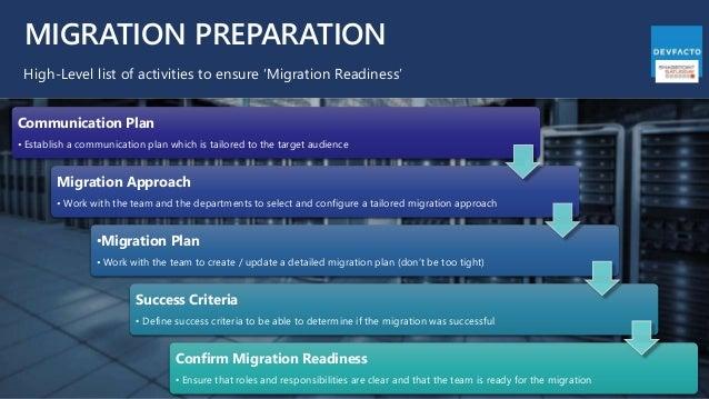 MIGRATION PREPARATION High-Level list of activities to ensure 'Migration Readiness' Communication Plan • Establish a commu...