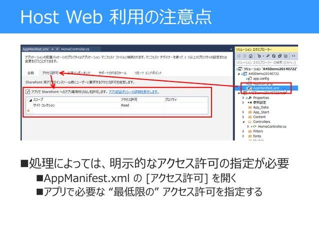 "Host Web 利用の注意点 処理によっては、明示的なアクセス許可の指定が必要 AppManifest.xml の [アクセス許可] を開く アプリで必要な ""最低限の"" アクセス許可を指定する"