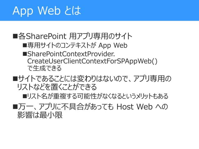 App Web とは 各SharePoint 用アプリ専用のサイト 専用サイトのコンテキストが App Web SharePointContextProvider. CreateUserClientContextForSPAppWeb()...