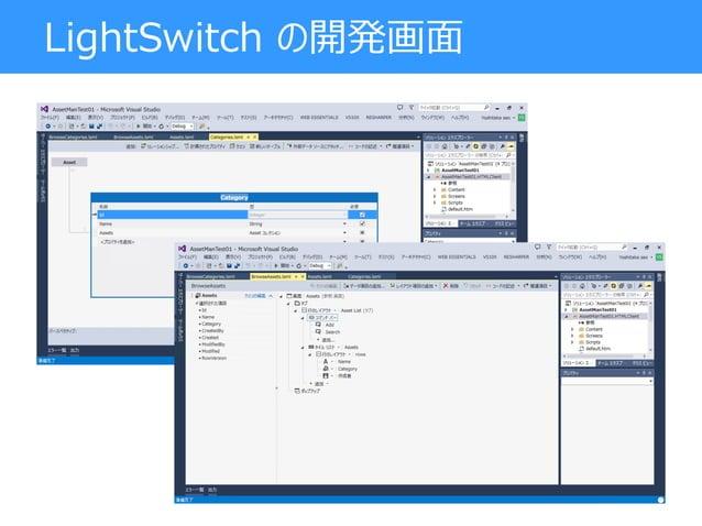 LightSwitch の開発画面