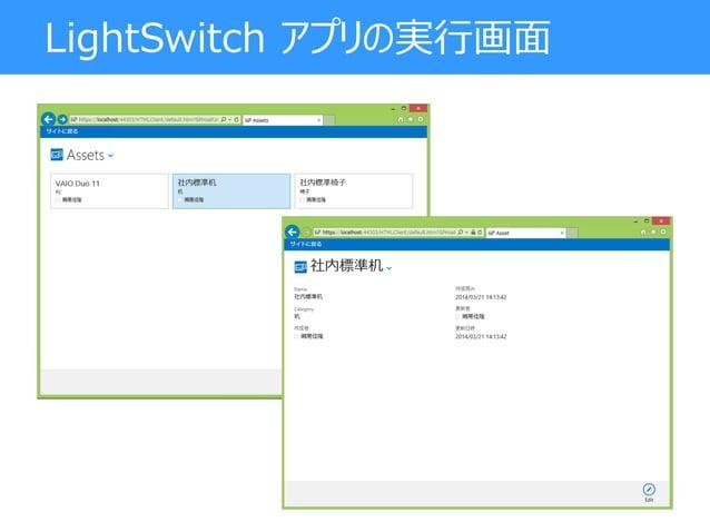 LightSwitch アプリの実行画面