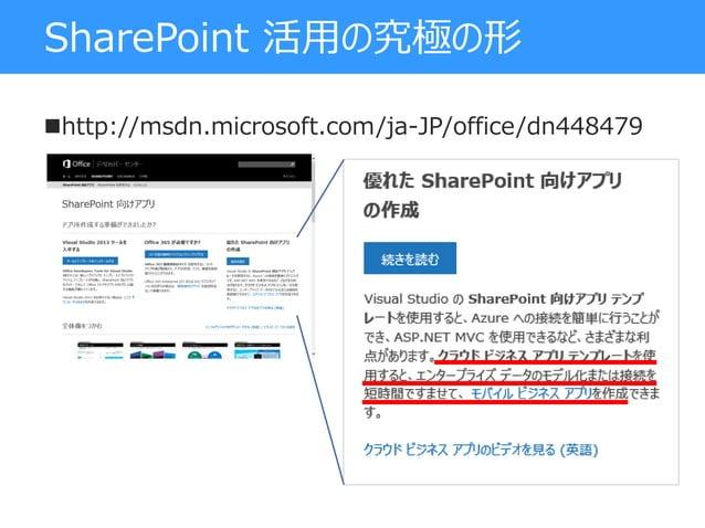 SharePoint 活用の究極の形 http://msdn.microsoft.com/ja-JP/office/dn448479