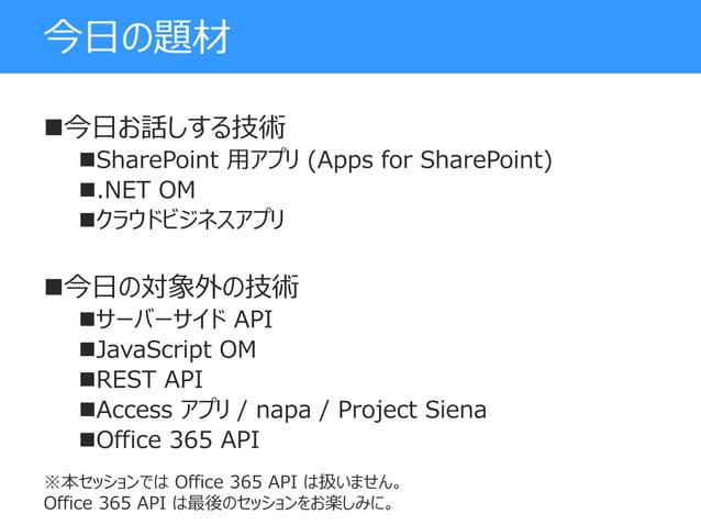 今日の題材 今日お話しする技術 SharePoint 用アプリ (Apps for SharePoint) .NET OM クラウドビジネスアプリ 今日の対象外の技術 サーバーサイド API JavaScript OM REST...