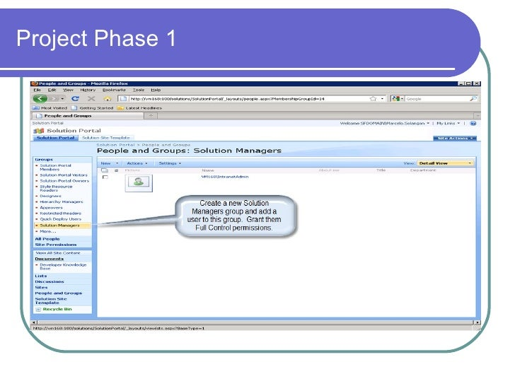 sharepoint project phase 1 and 2