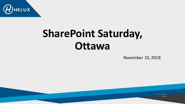 SharePoint Saturday, Ottawa November 10, 2018