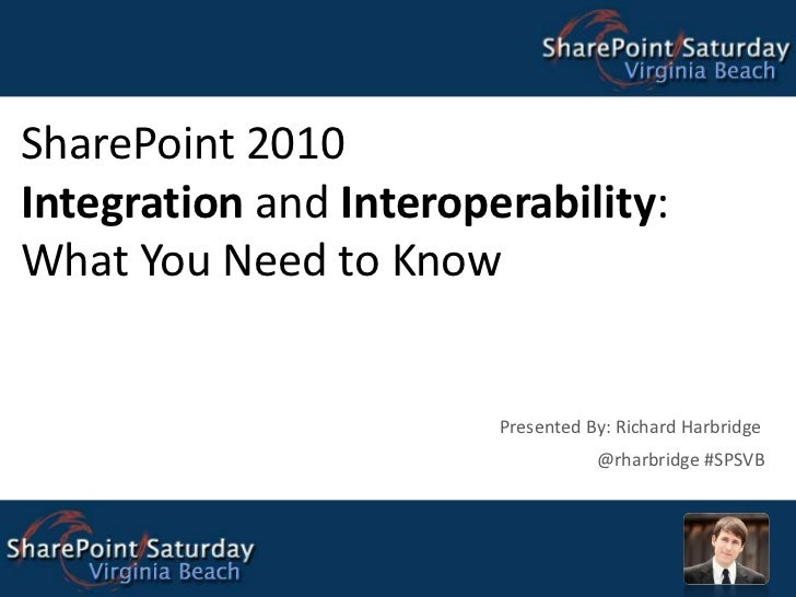 SharePoint 2010Integration and Interoperability:What You Need to Know Presented By: Richard Harbridge @rharbridge #SPSVB