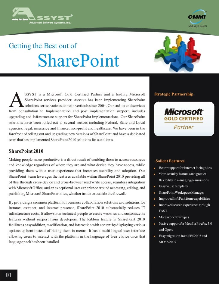 Getting the Best out of                  SharePointA           SSYST is a Microsoft Gold Certified Partner and a leading M...