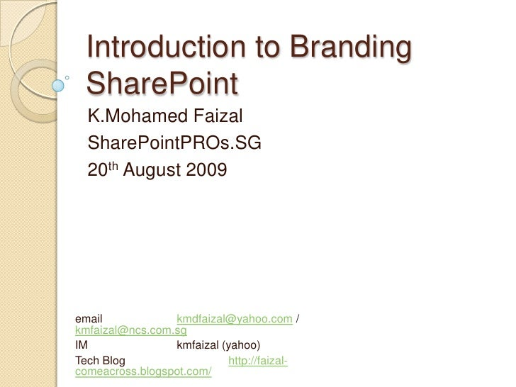 Introduction to Branding SharePoint