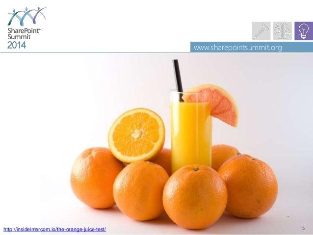 www.sharepointsummit.org 15http://insideintercom.io/the-orange-juice-test/