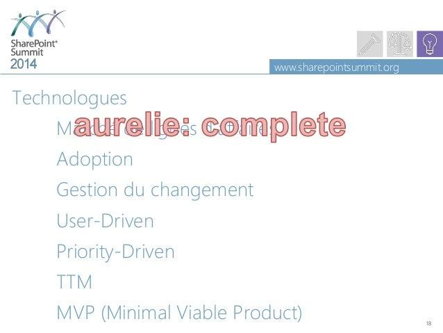 www.sharepointsummit.org Technologues Marché de lignes d'affaires Adoption Gestion du changement User-Driven Priority-Driv...