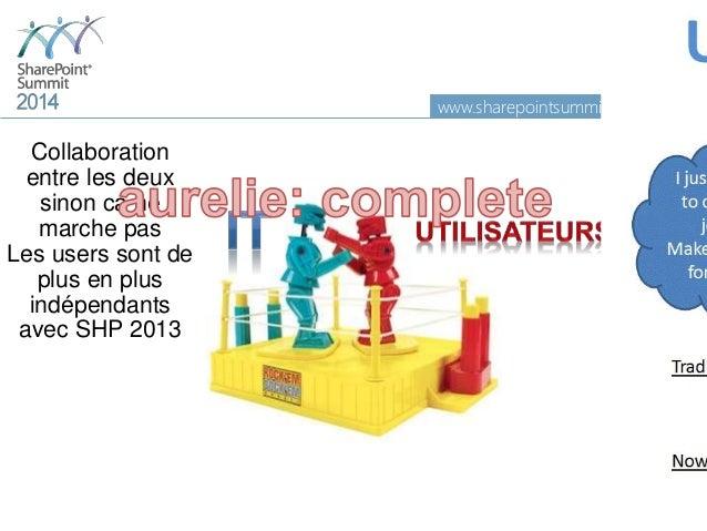www.sharepointsummit.org 19 Collaboration entre les deux sinon ca ne marche pas Les users sont de plus en plus indépendant...