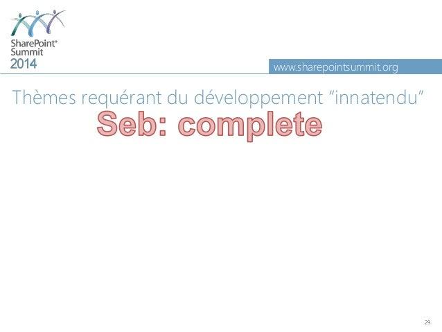 "www.sharepointsummit.org Thèmes requérant du développement ""innatendu"" 29"