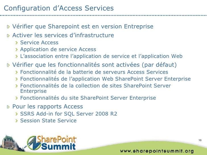 Configuration d'Access Services  Vérifier que Sharepoint est en version Entreprise  Activer les services d'infrastructure ...
