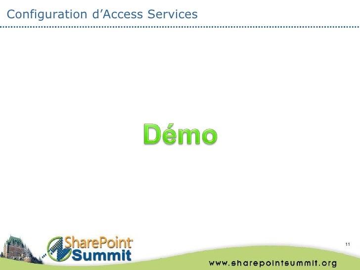 Configuration d'Access Services                                  11