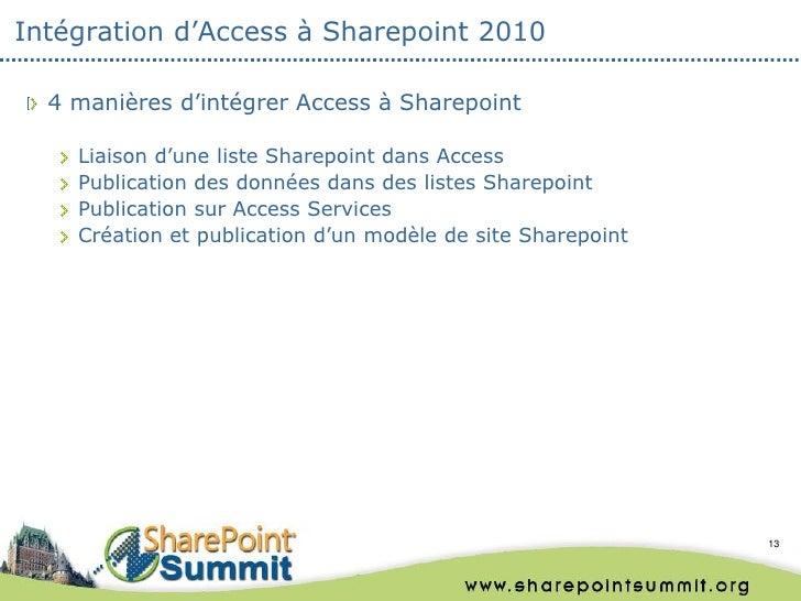 Intégration d'Access à Sharepoint 2010  4 manières d'intégrer Access à Sharepoint    Liaison d'une liste Sharepoint dans A...