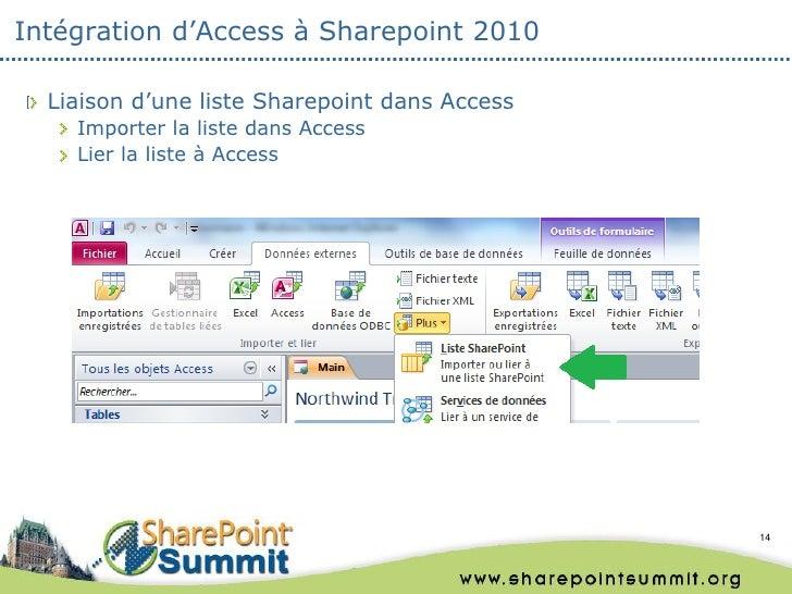 Intégration d'Access à Sharepoint 2010  Liaison d'une liste Sharepoint dans Access    Importer la liste dans Access    Lie...