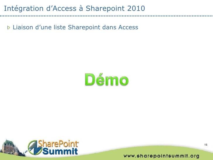 Intégration d'Access à Sharepoint 2010  Liaison d'une liste Sharepoint dans Access                                        ...