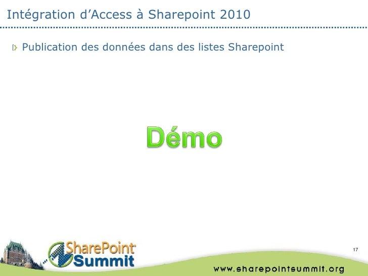 Intégration d'Access à Sharepoint 2010  Publication des données dans des listes Sharepoint                                ...