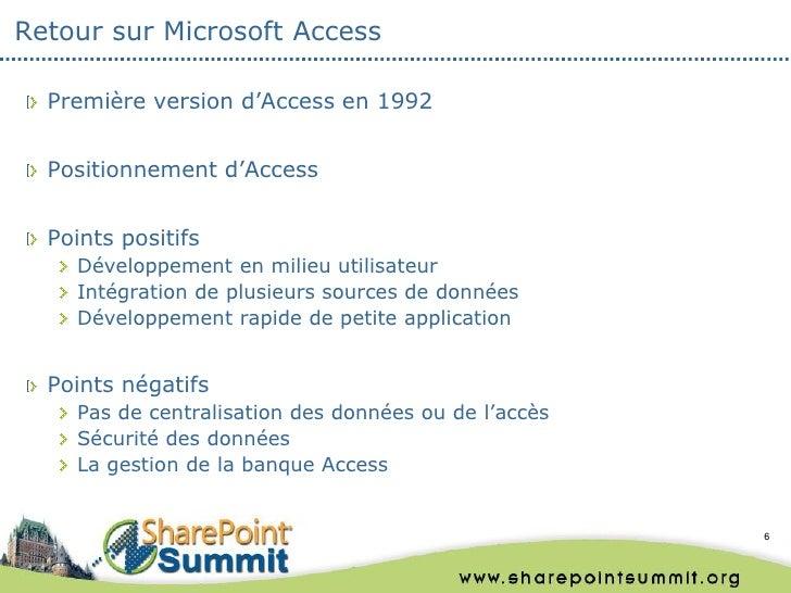 Retour sur Microsoft Access  Première version d'Access en 1992  Positionnement d'Access  Points positifs    Développement ...