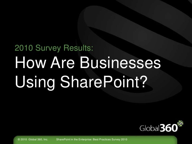 2010 Survey Results:How Are Businesses Using SharePoint?<br />