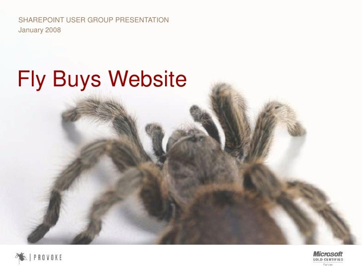 SHAREPOINT USER GROUP PRESENTATION<br />January 2008<br />Fly Buys Website<br />
