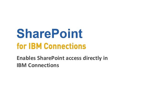 Enables SharePoint access directly in IBM Connections