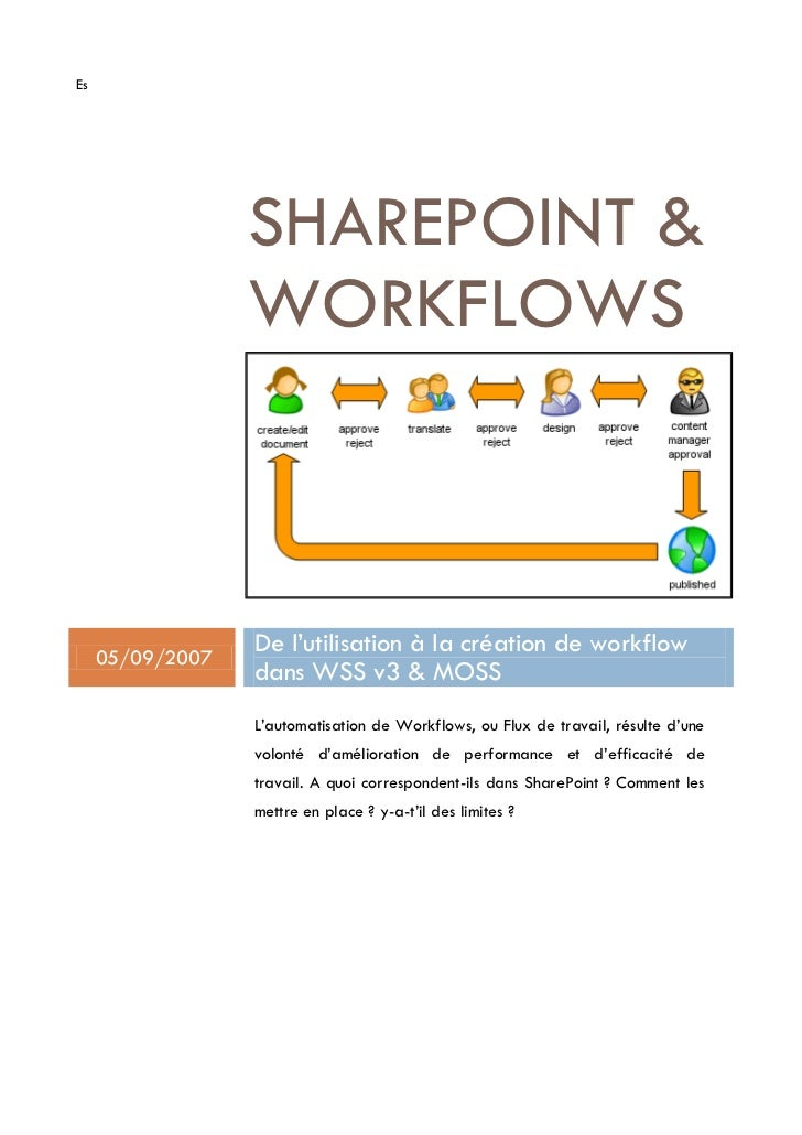 Es                       SHAREPOINT                    WORKFLOWS         05/09/2007                   De l'utilisation à l...