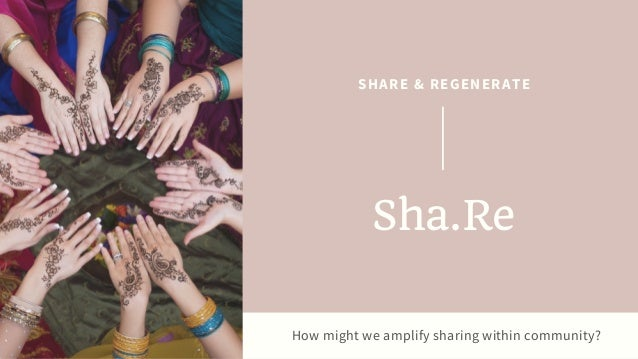 How might we amplify sharing within community? SHARE & REGENERATE Sha.Re