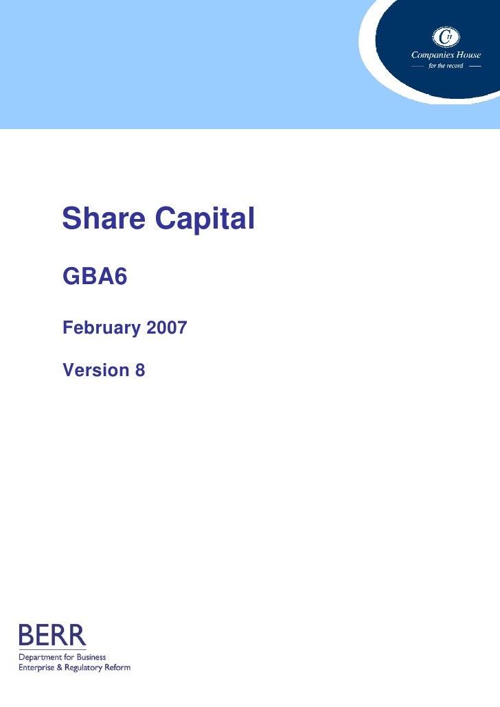 Share Capital GBA6  February 2007  Version 8