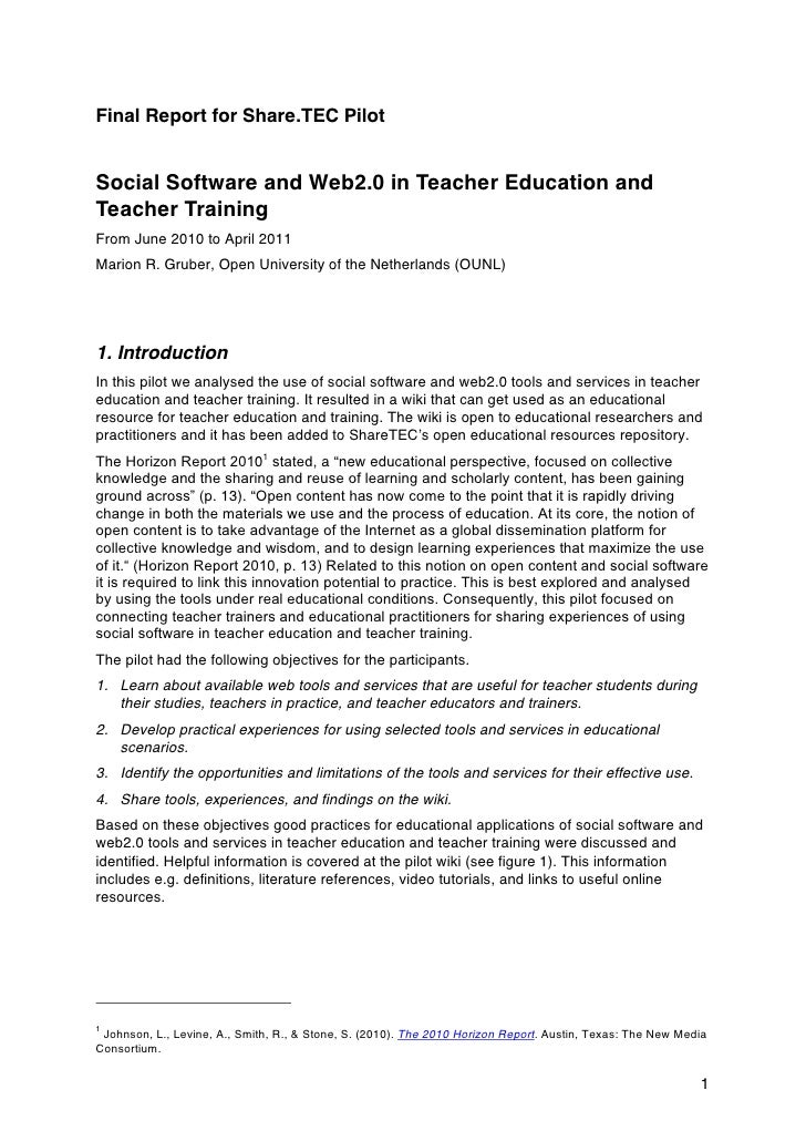 Final Report for Share.TEC PilotSocial Software and Web2.0 in Teacher Education andTeacher TrainingFrom June 2010 to April...