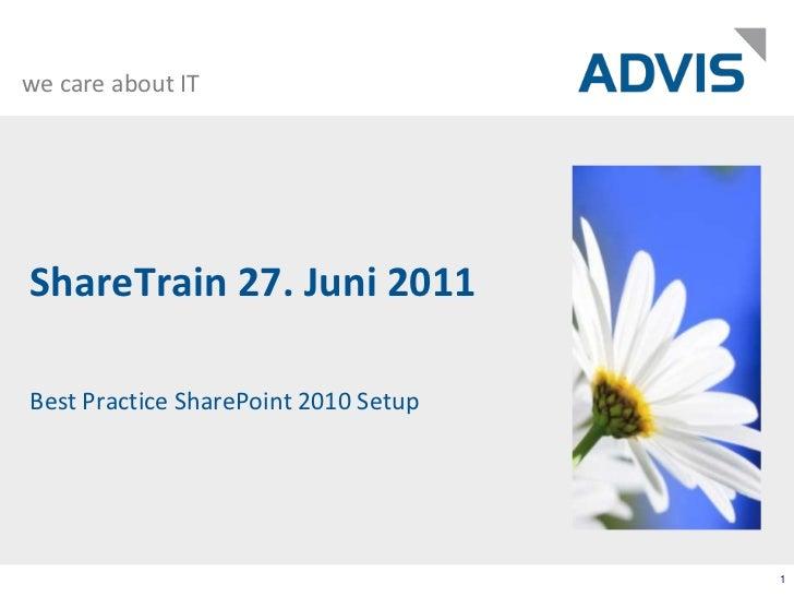 ShareTrain 27. Juni 2011<br />Best Practice SharePoint 2010 Setup<br />1<br />