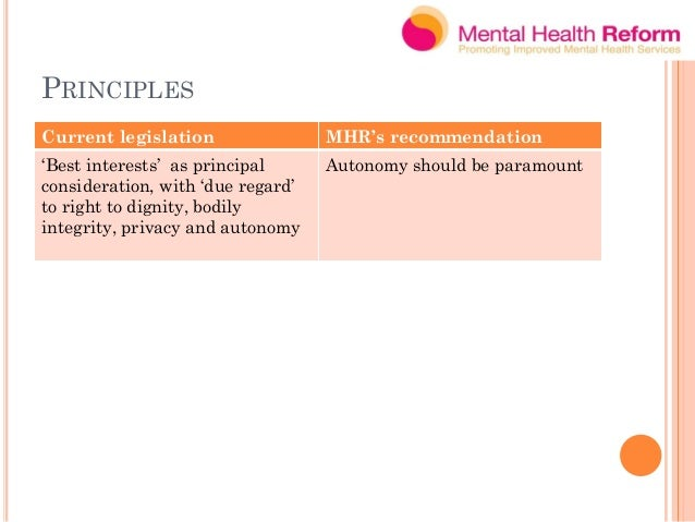 AUTONOMY – RIGHT TO MAKE CHOICES Current gaps MHR Recommendation No presumption of capacity Right to presumption of capaci...