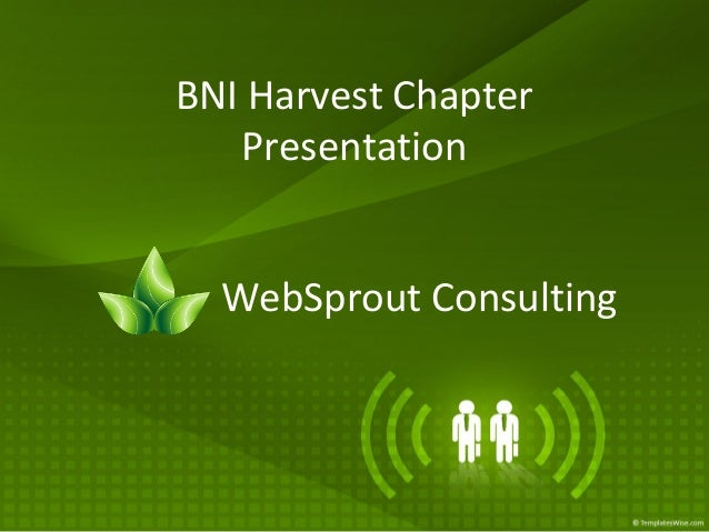 BNI Harvest Chapter Presentation WebSprout Consulting