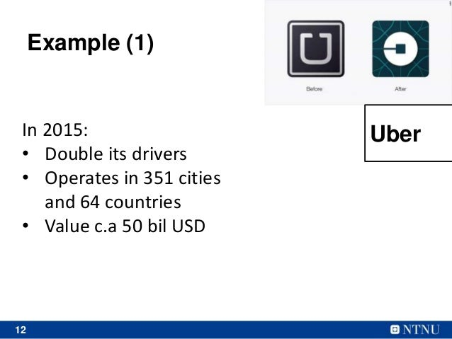 12 In 2015: • Double its drivers • Operates in 351 cities and 64 countries • Value c.a 50 bil USD Example (1) Uber