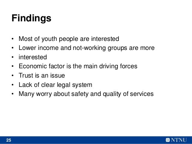 25 Findings • Most of youth people are interested • Lower income and not-working groups are more • interested • Economic f...
