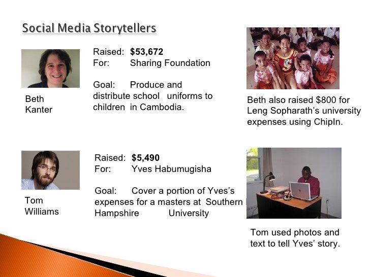 Tom Williams Beth Kanter Raised:  $53,672   For:  Sharing Foundation Goal:  Produce and  distribute school  uniforms to ch...