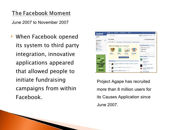 <ul><li>When Facebook opened its system to third party integration, innovative applications appeared that allowed people t...