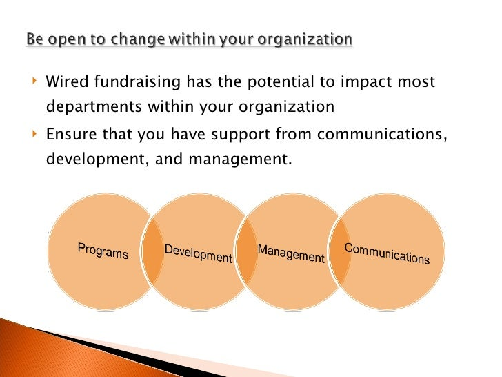 <ul><li>Wired fundraising has the potential to impact most departments within your organization </li></ul><ul><li>Ensure t...