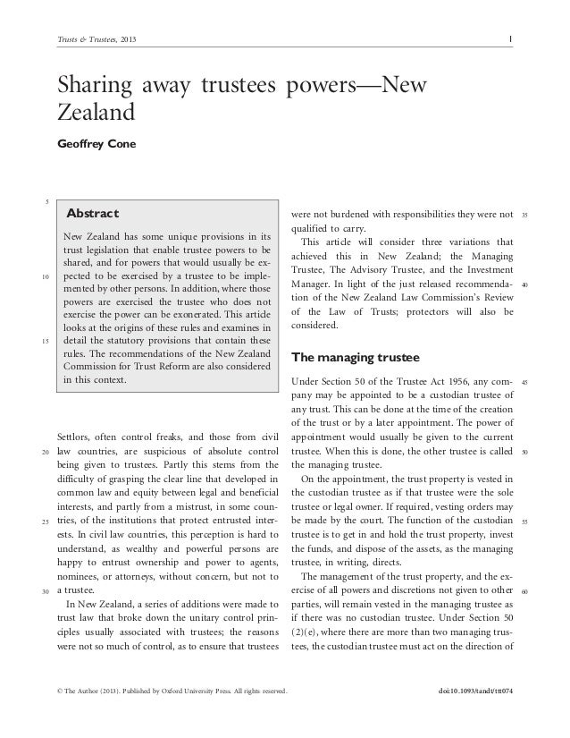 Sharing away trustees powers—New Zealand Geoffrey Cone 5 Abstract New Zealand has some unique provisions in its trust legi...
